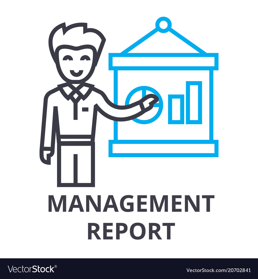 Management report thin line icon sign symbol