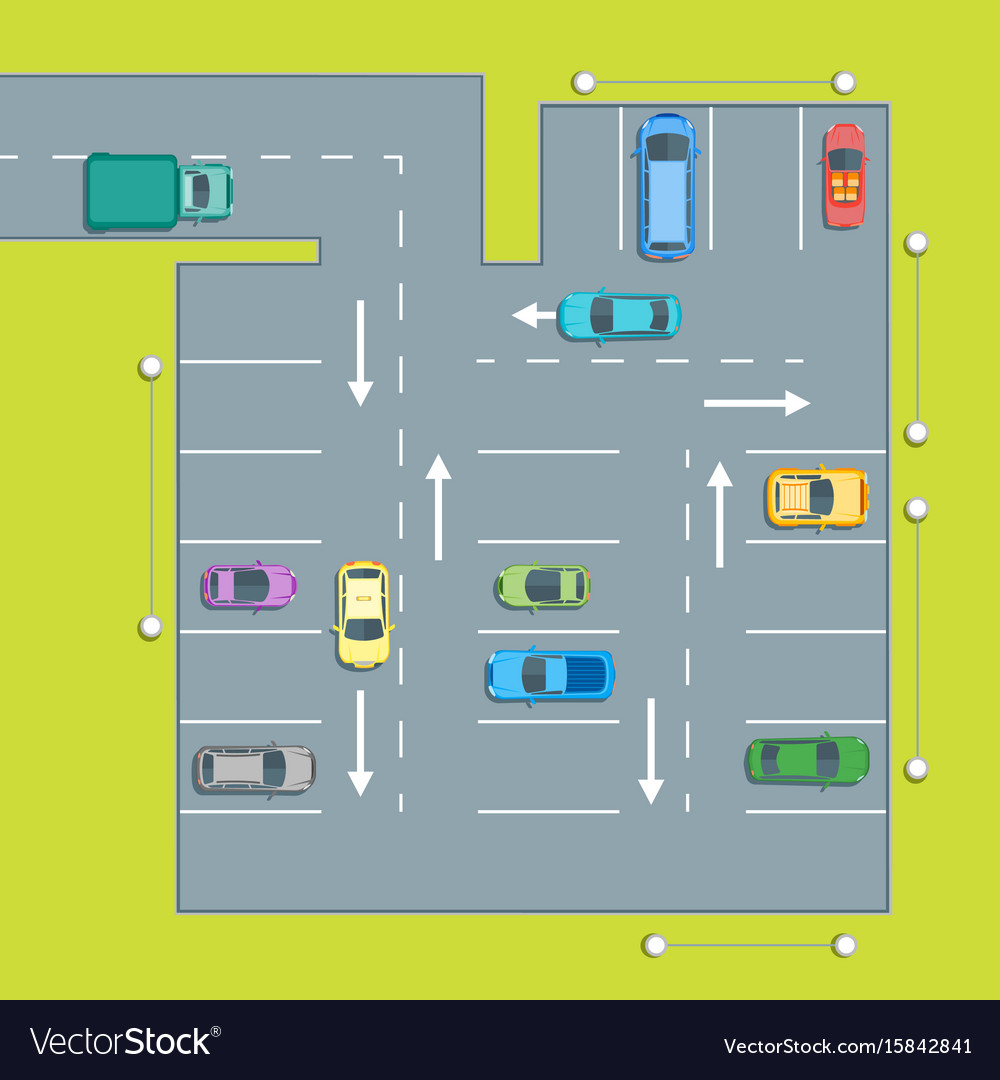 Parking scheme with car and arrow