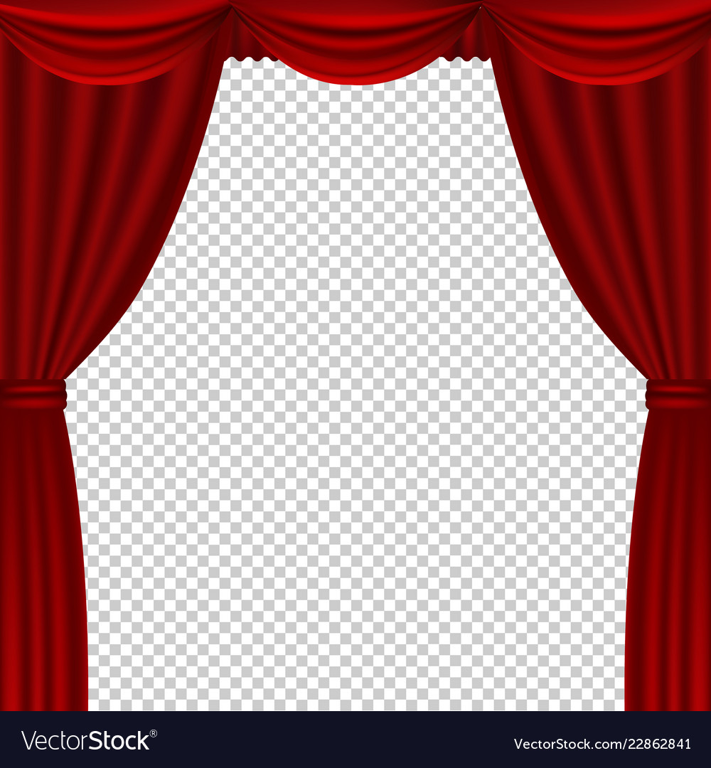 red theater curtains transparent background vector image