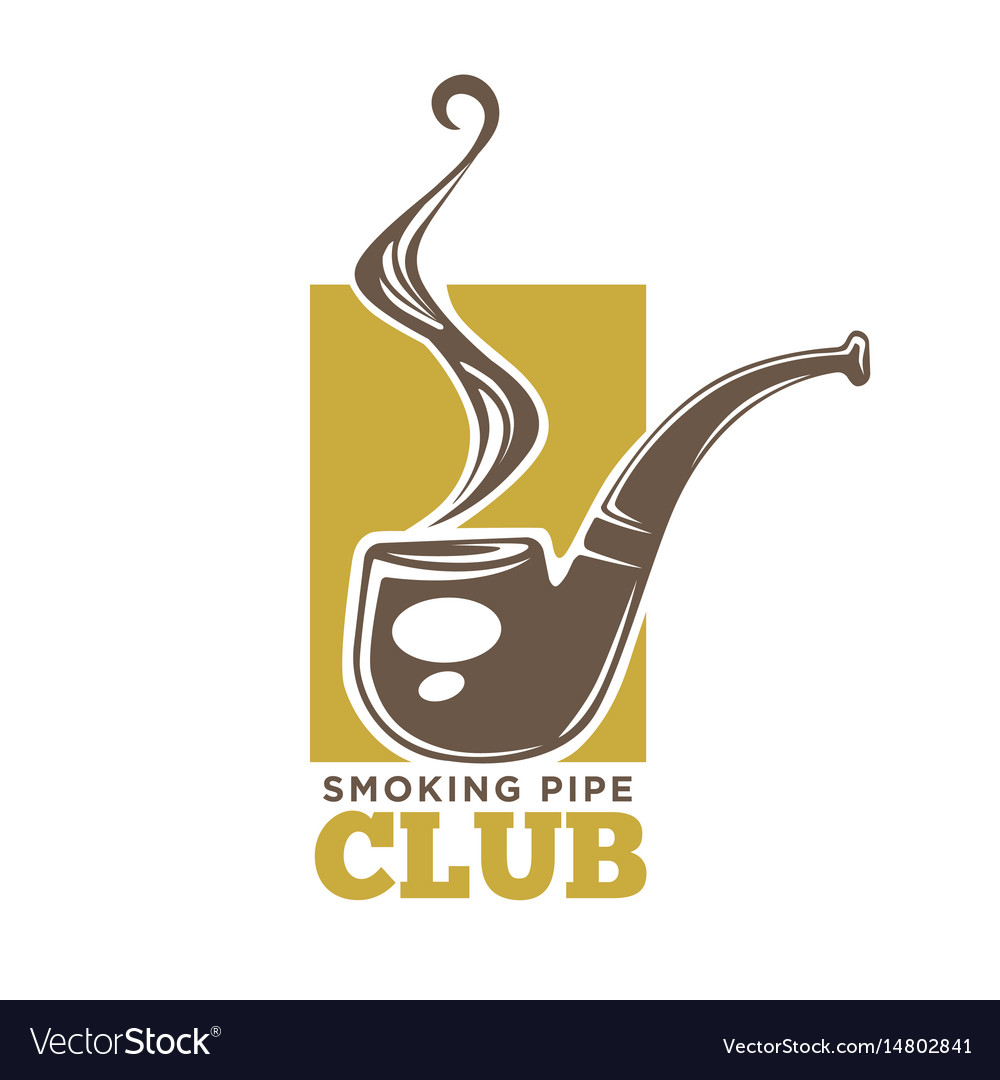 Smoking pipe club colorful logotype isolated on