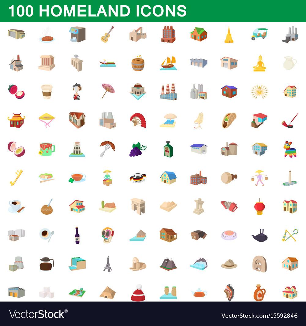 100 homeland icons set cartoon style