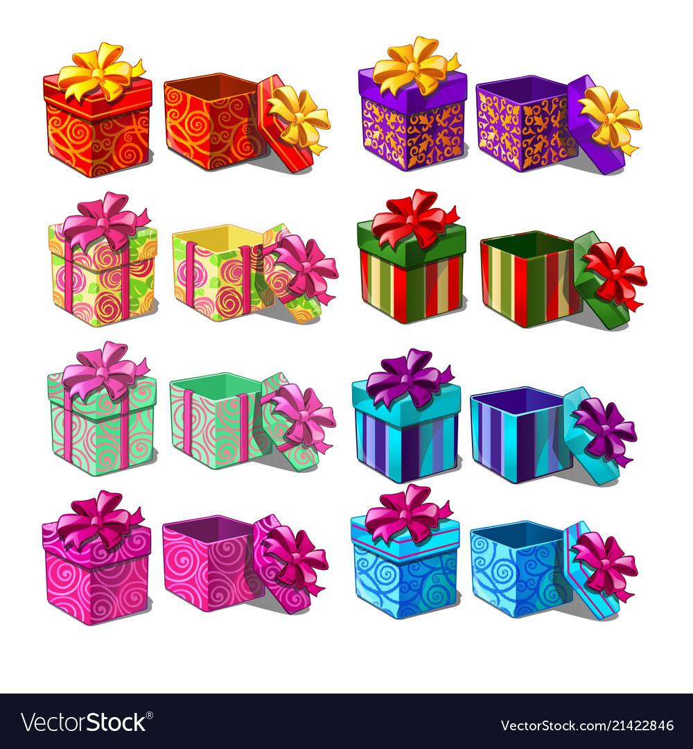 Big set of gift boxes isolated on white background