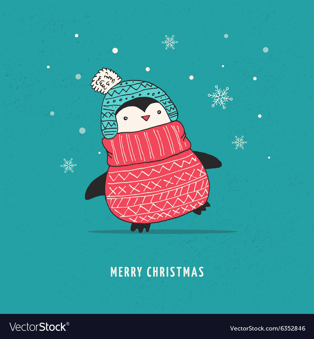 Cute Happy Penguin Merry Christmas Greetings Vector Image