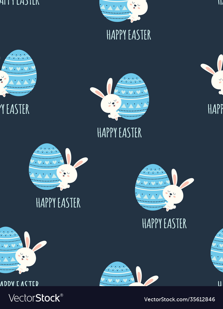 Easter seamless pattern with bunny and egg