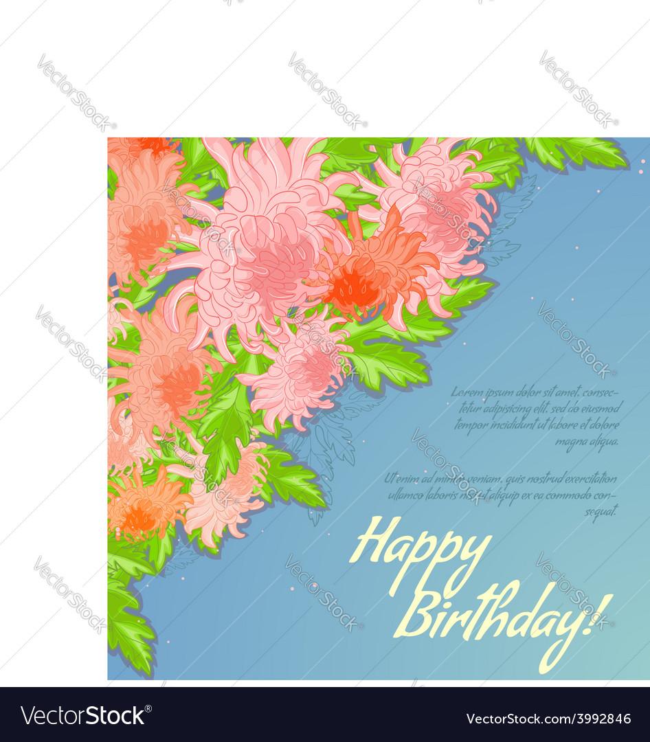 Floral decorative card with chrysanthemum