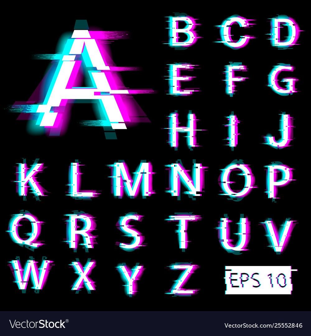 Glitch english alphabet distorted letters