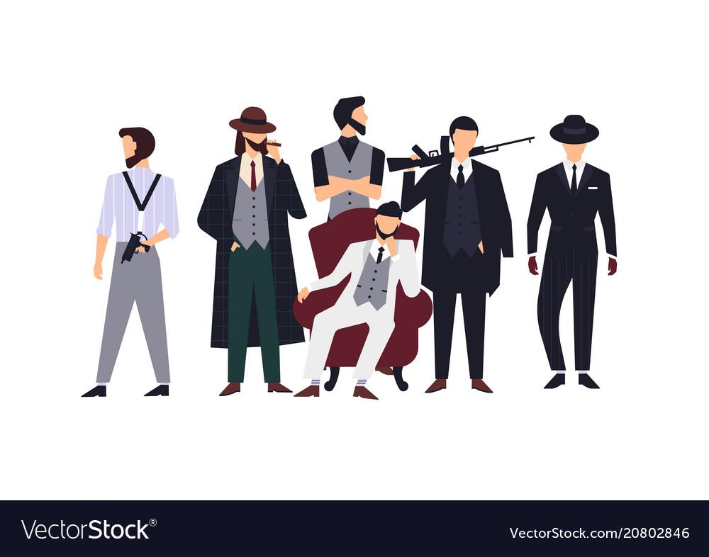 Group of mafia members or mafiosi dressed in