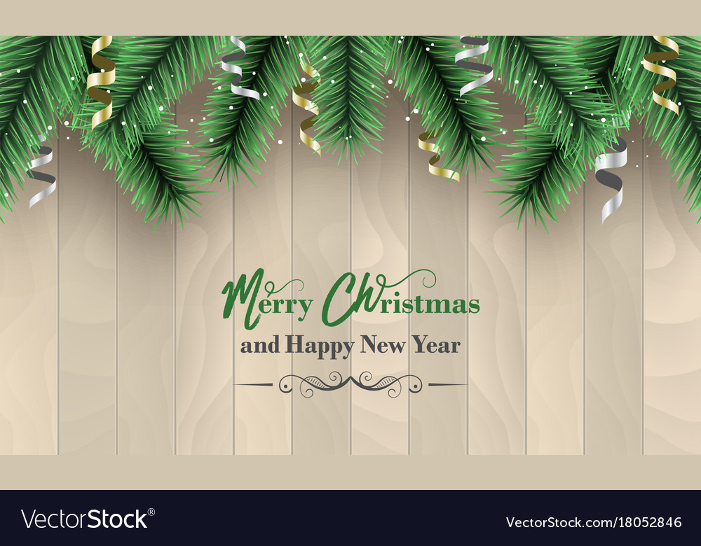 merry christmas and happy new year banner wooden vector image
