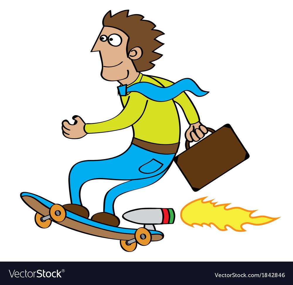 Rocket skateboard cartoon vector image