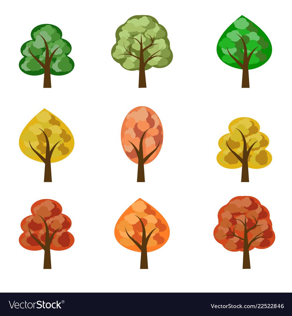 Set of seasoned trees flat style