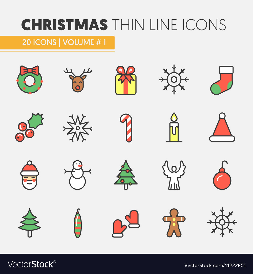 Christmas and Happy New Year 2017 Thin Line Icons vector image
