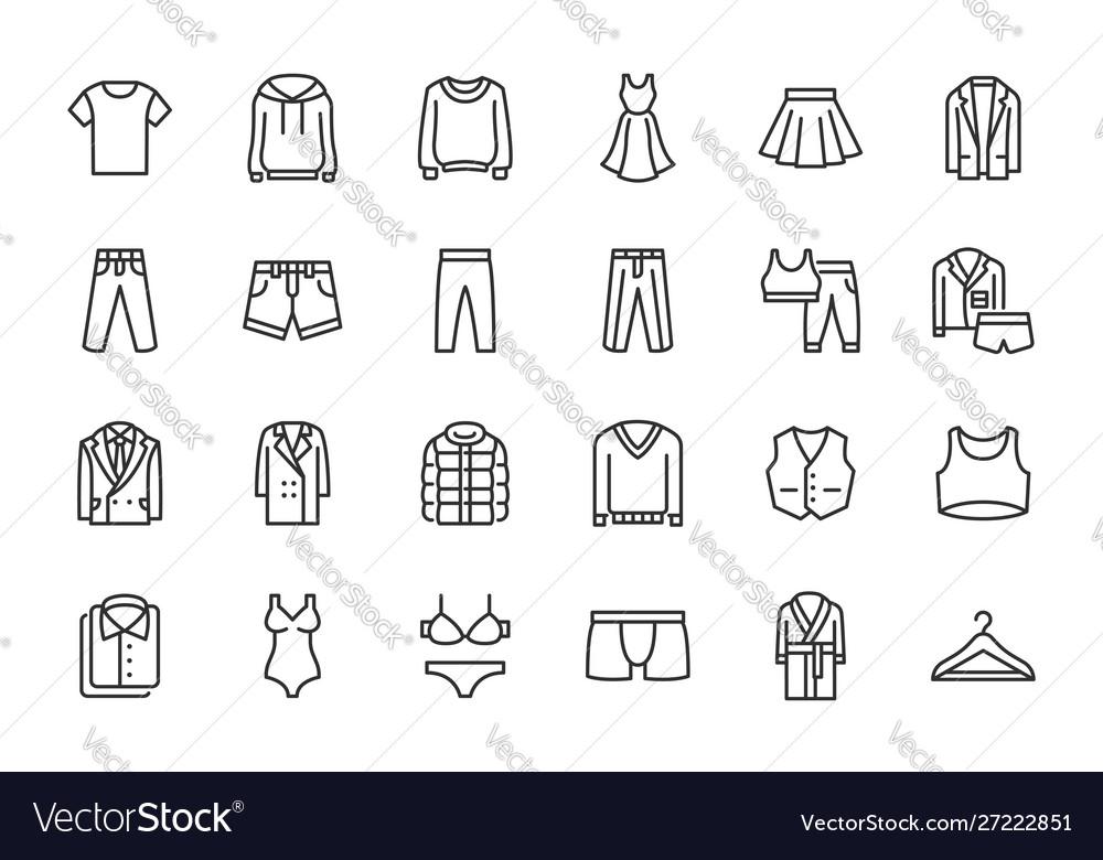 Clothes fashion line icons