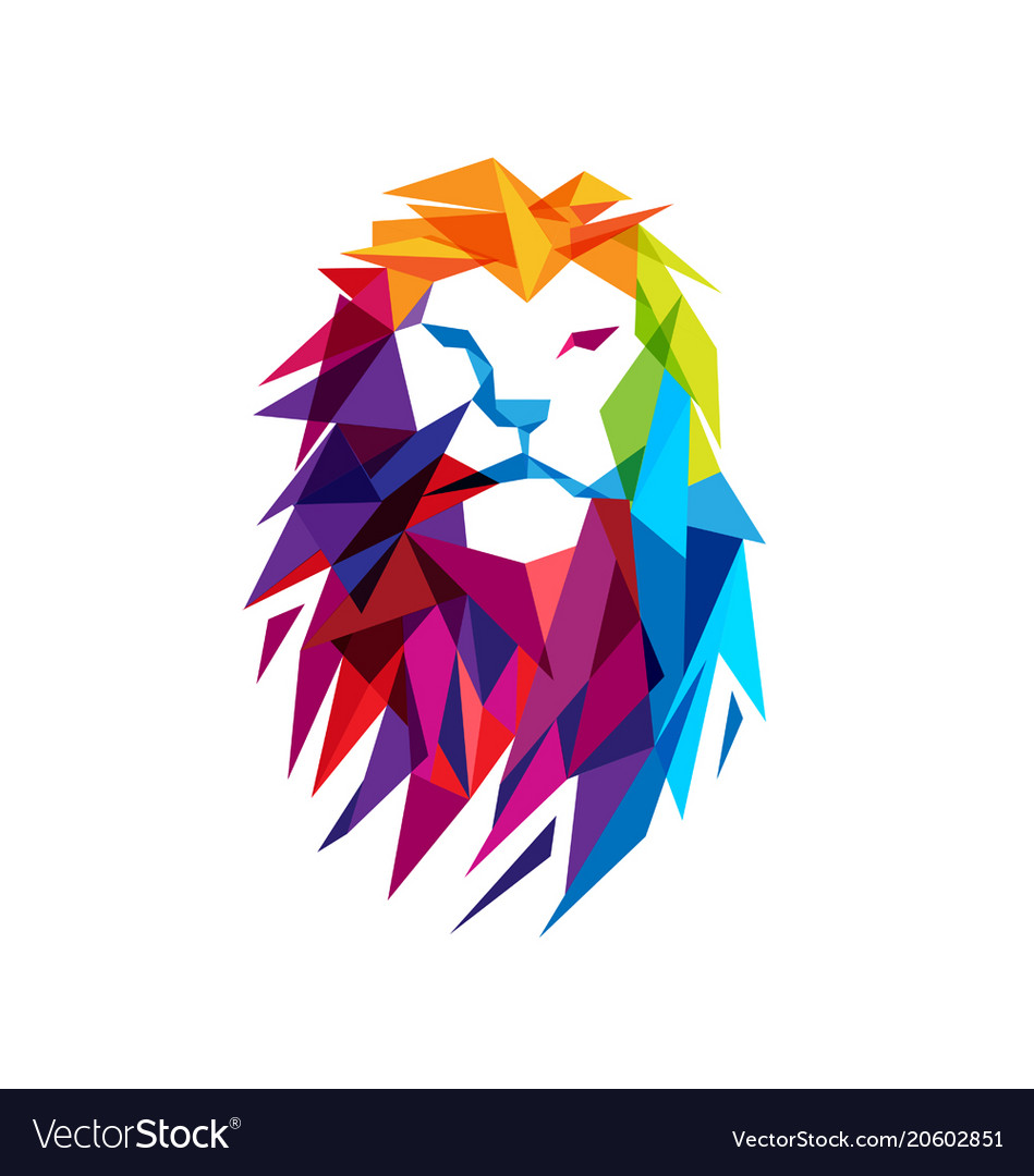 colorful lion head logo royalty free vector image