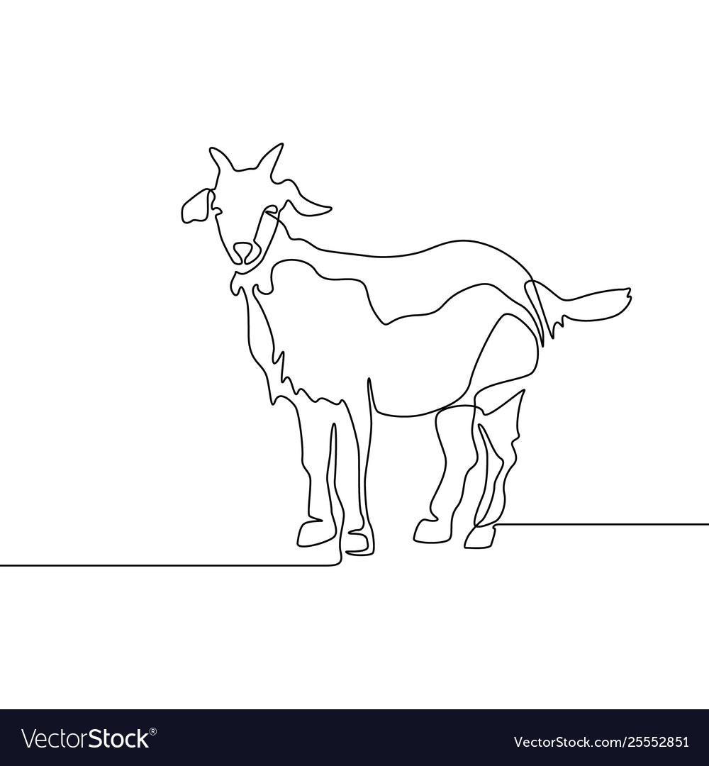 Continuous one line drawing goat