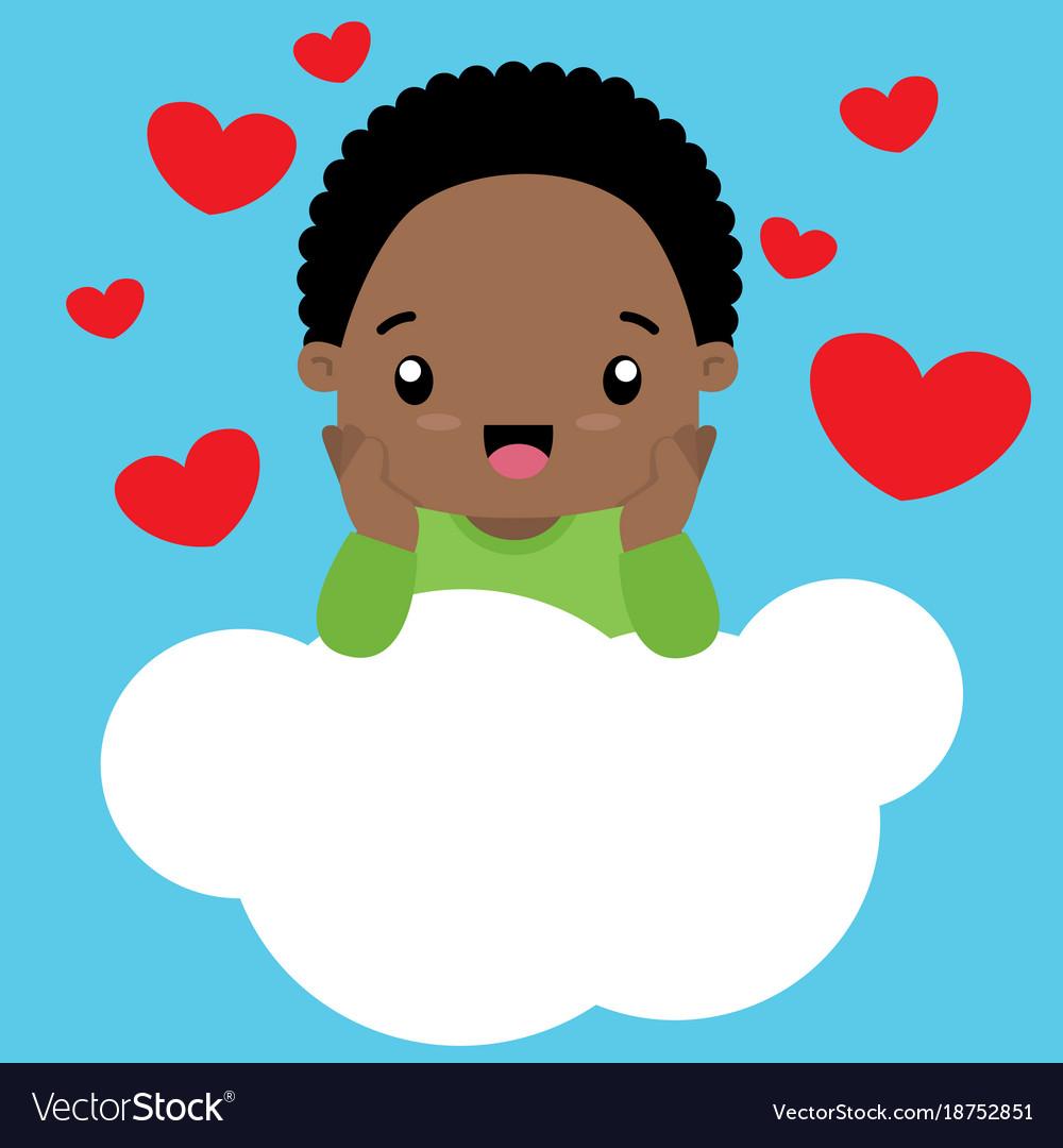 Cute little black boy in love sitting on a cloud