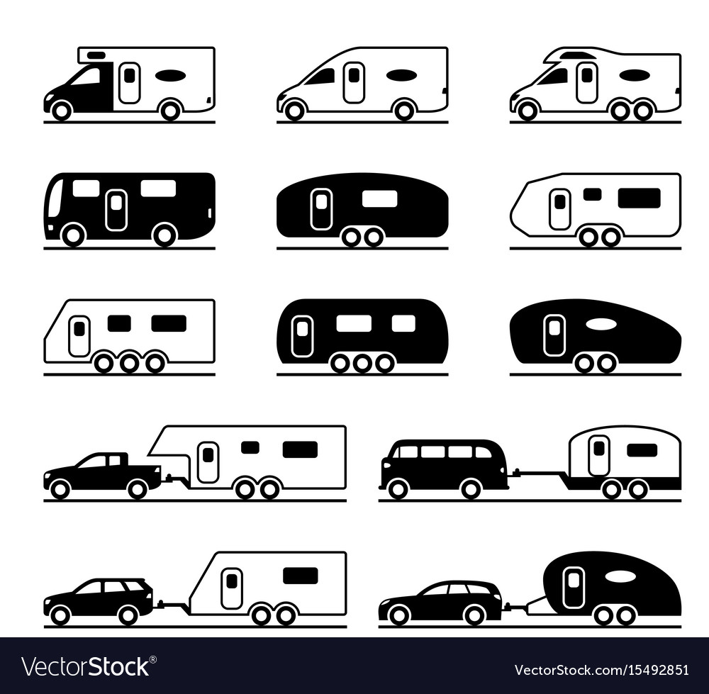 Different caravans and campers