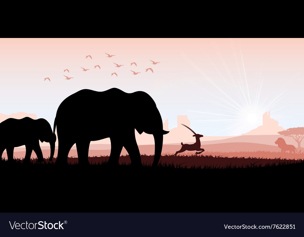 Elephant family with deer and birds
