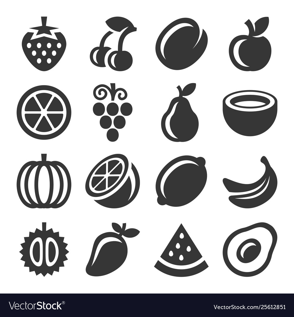 Fruits icons set on white background vector