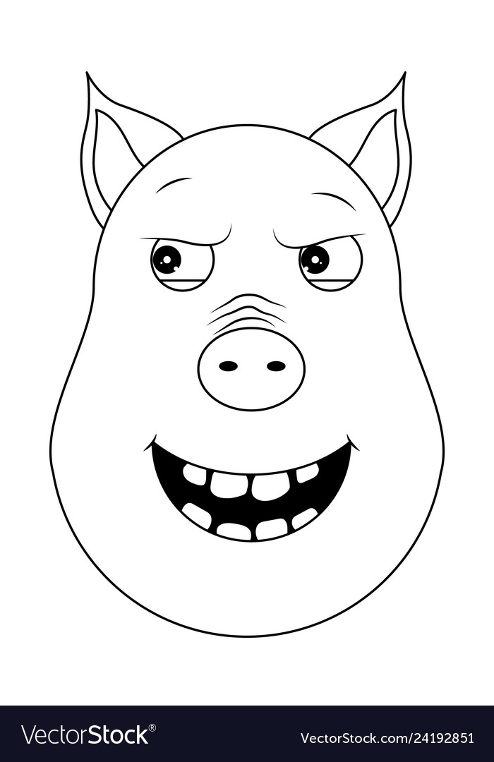 Head of malevolent pig in outline style kawaii