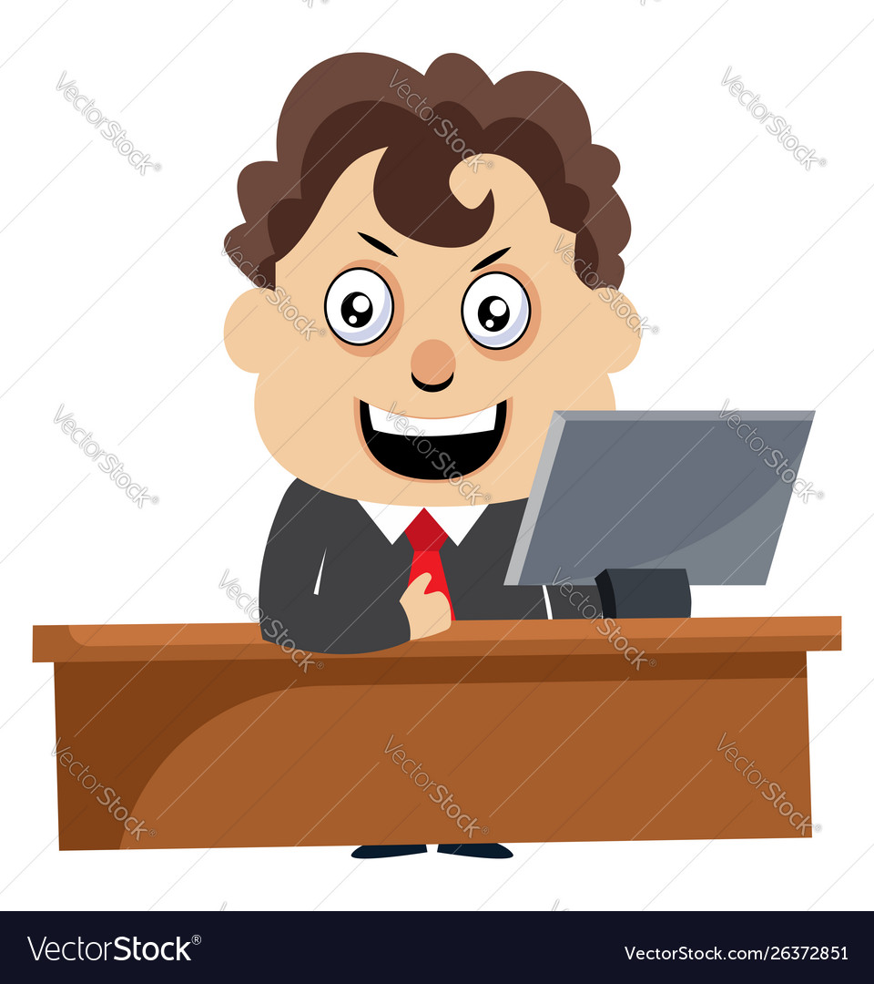 Man working at pc on white background
