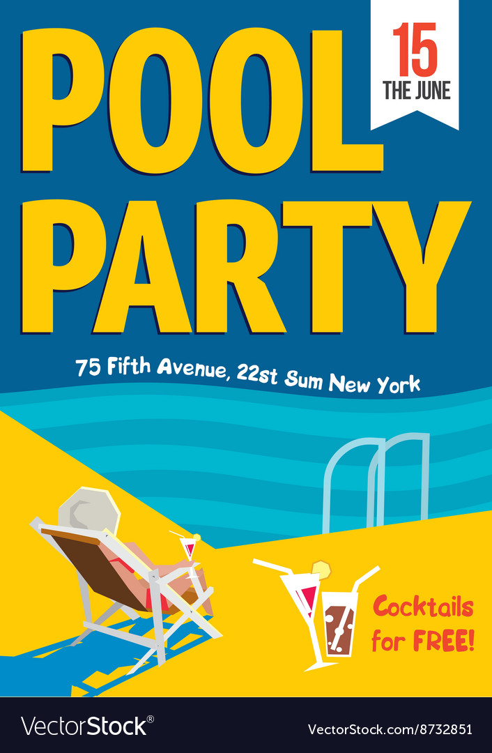 Pool Party Woman relaxed with a cocktail by the vector image