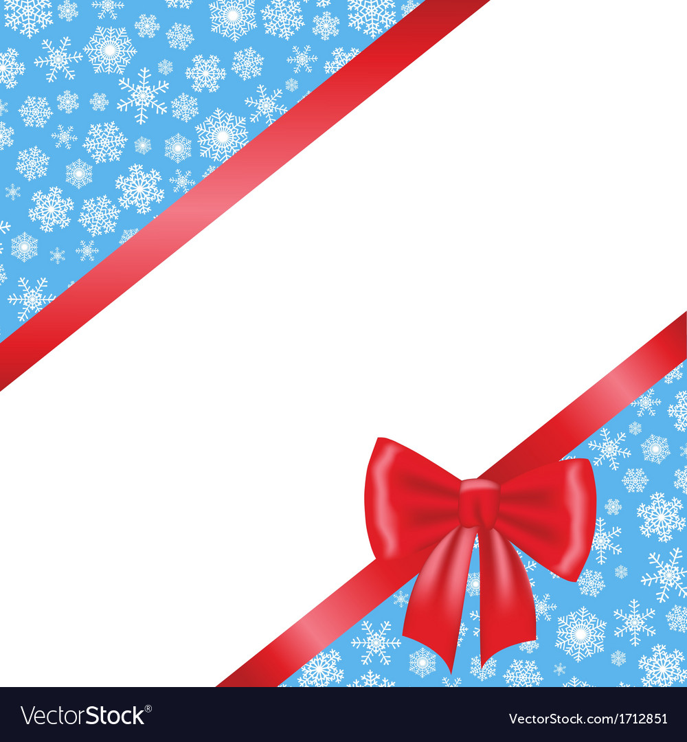 Red bow and ribbon and blue background with
