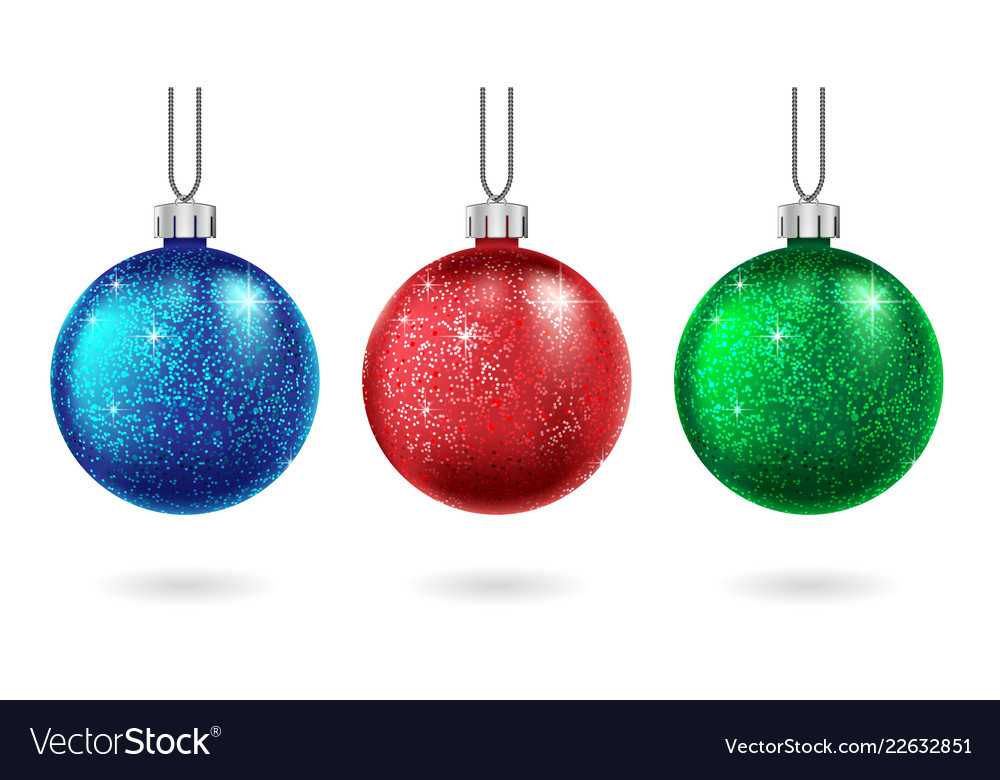 Set christmas blue and green ball isolated