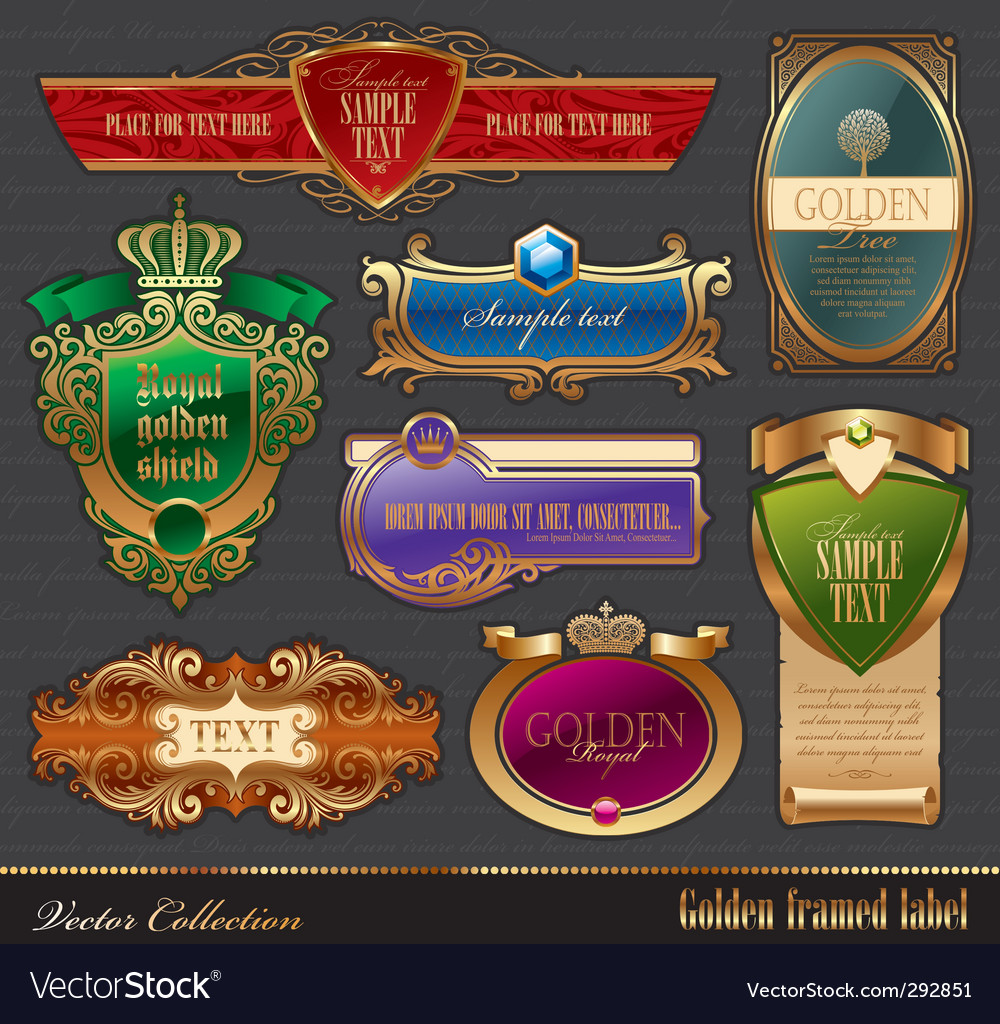 Set of golden luxury frame vector image