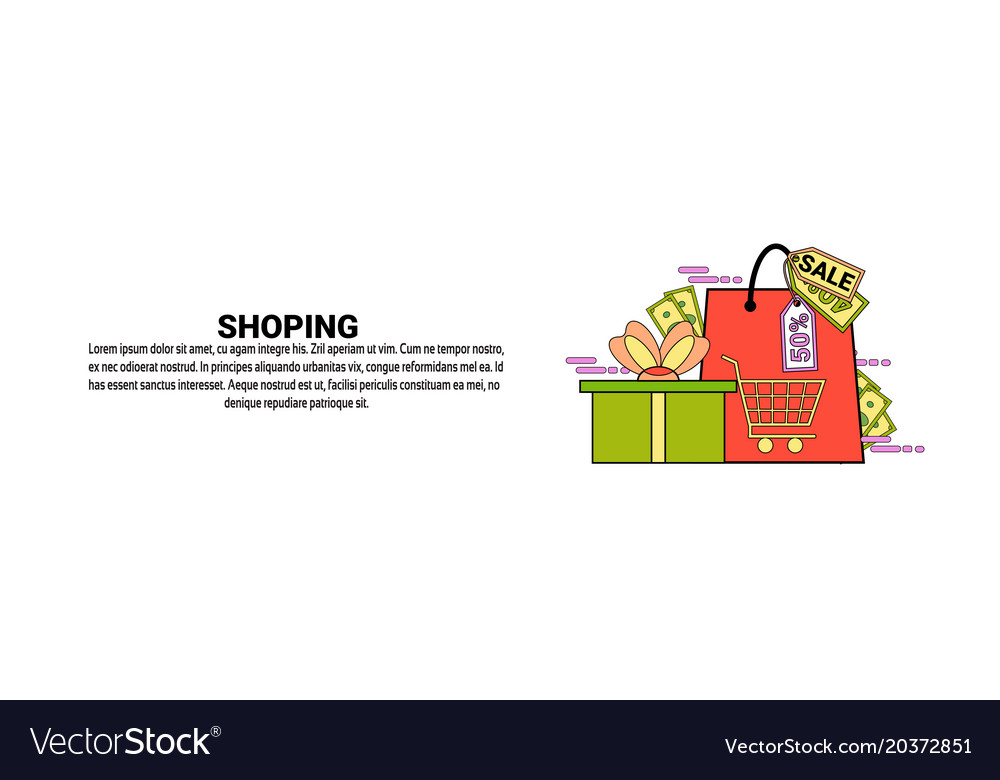 Shopping commerce concept horizontal banner with