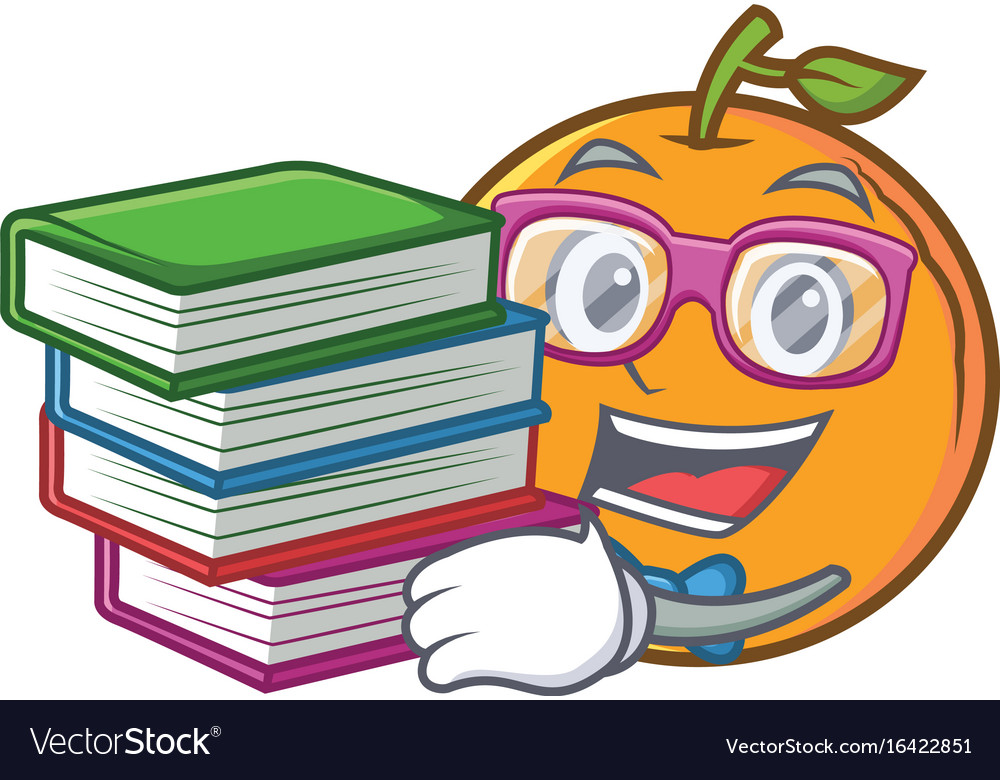 Student with book orange fruit cartoon character
