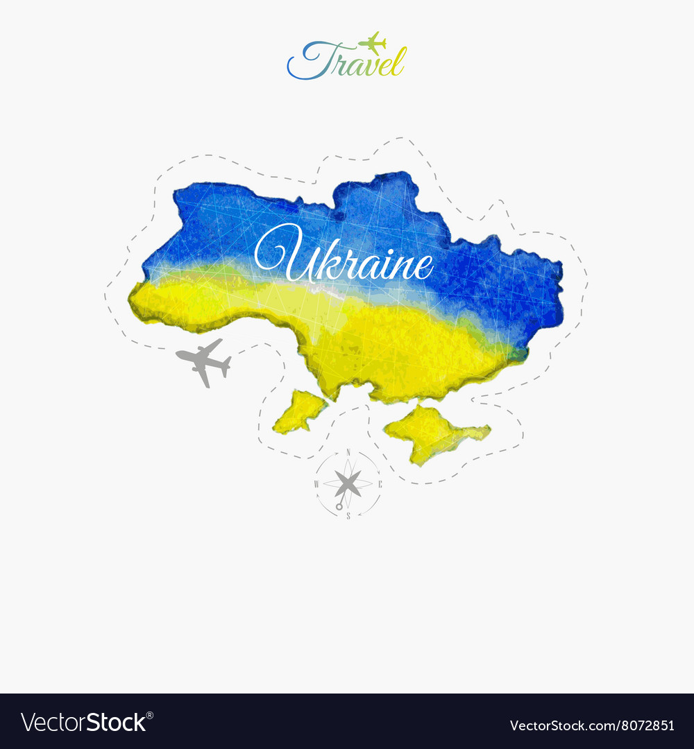 Travel around the world Ukraine Watercolor map