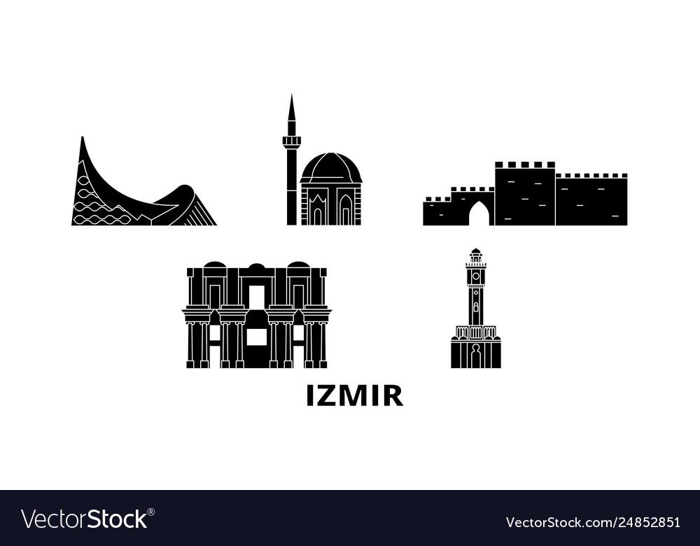 Turkey Izmir Flat Travel Skyline Set Turkey Vector Image