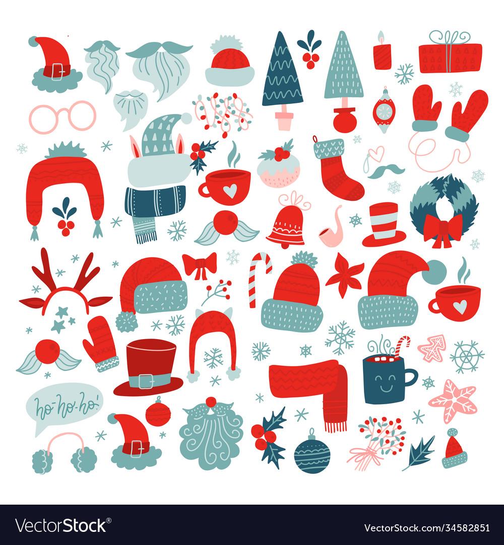 Year holidays icon big set red
