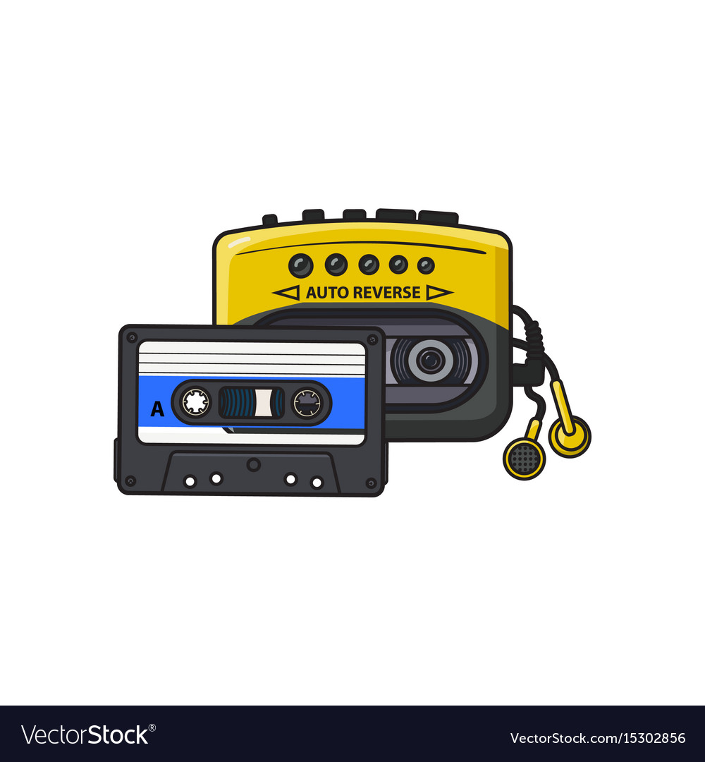 Black and yellow audio player walkman and