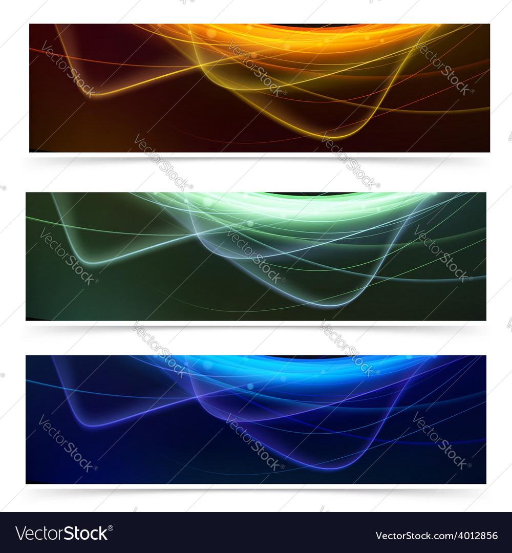 Bright neon glow line web footer set