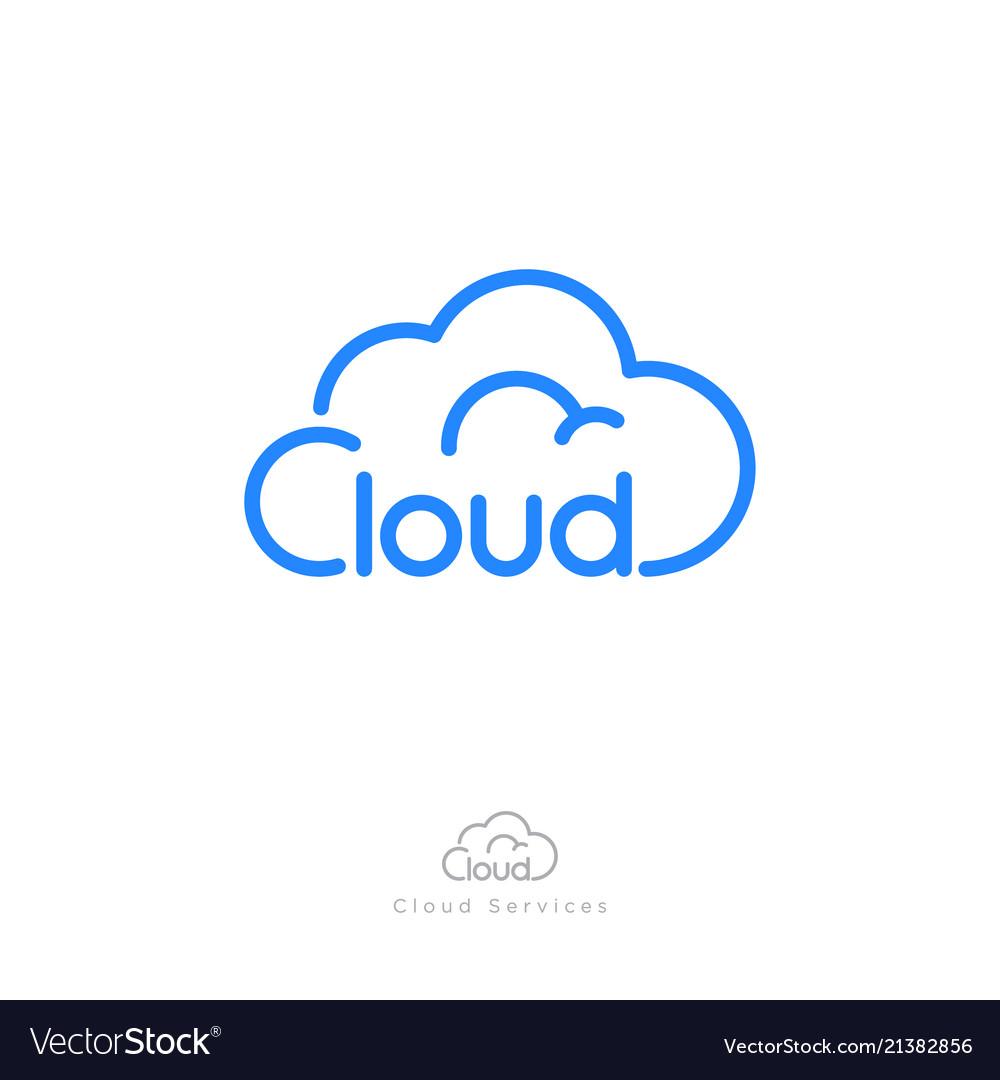 Cloud computing logo storage network icon linear