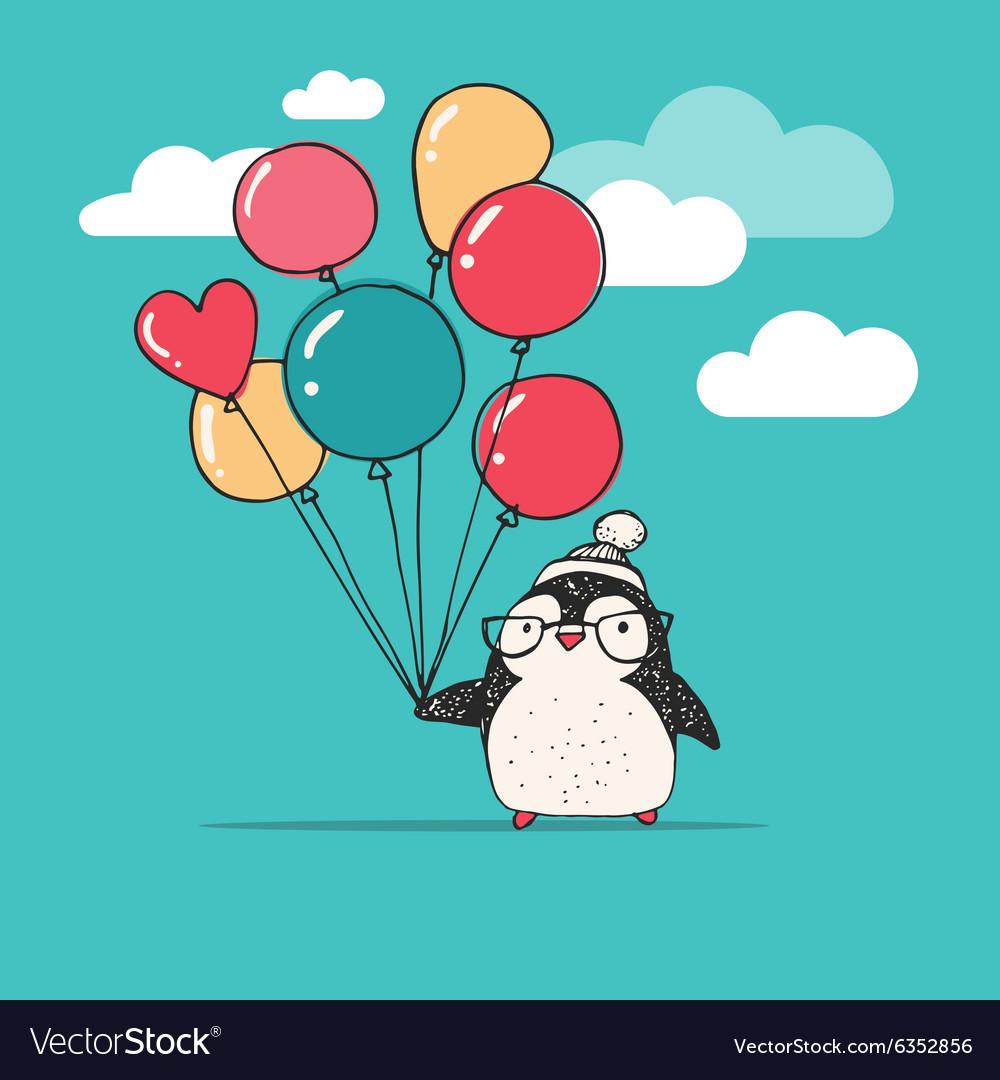 Открытка пингвин с шариками, девушке прикольные