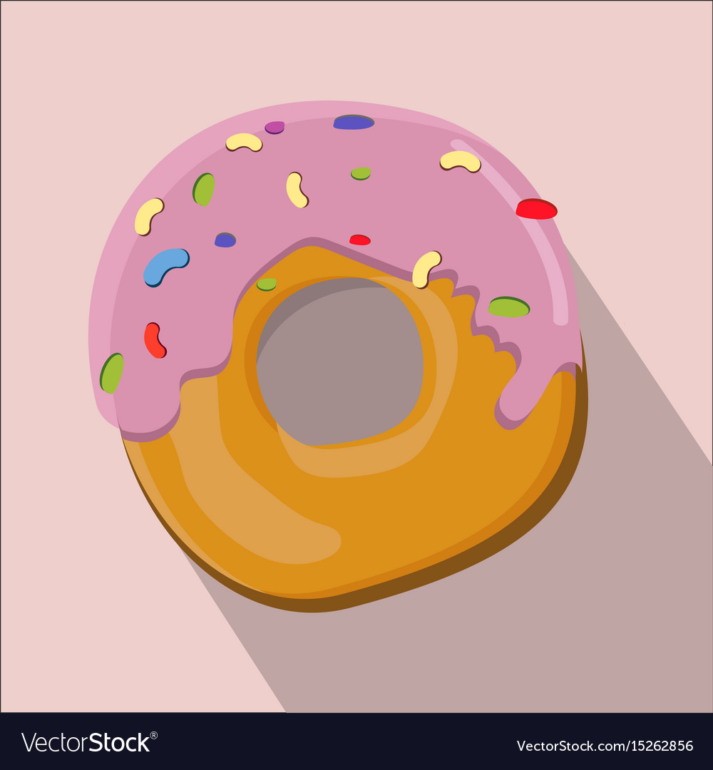 Donut isolated flat style vector image