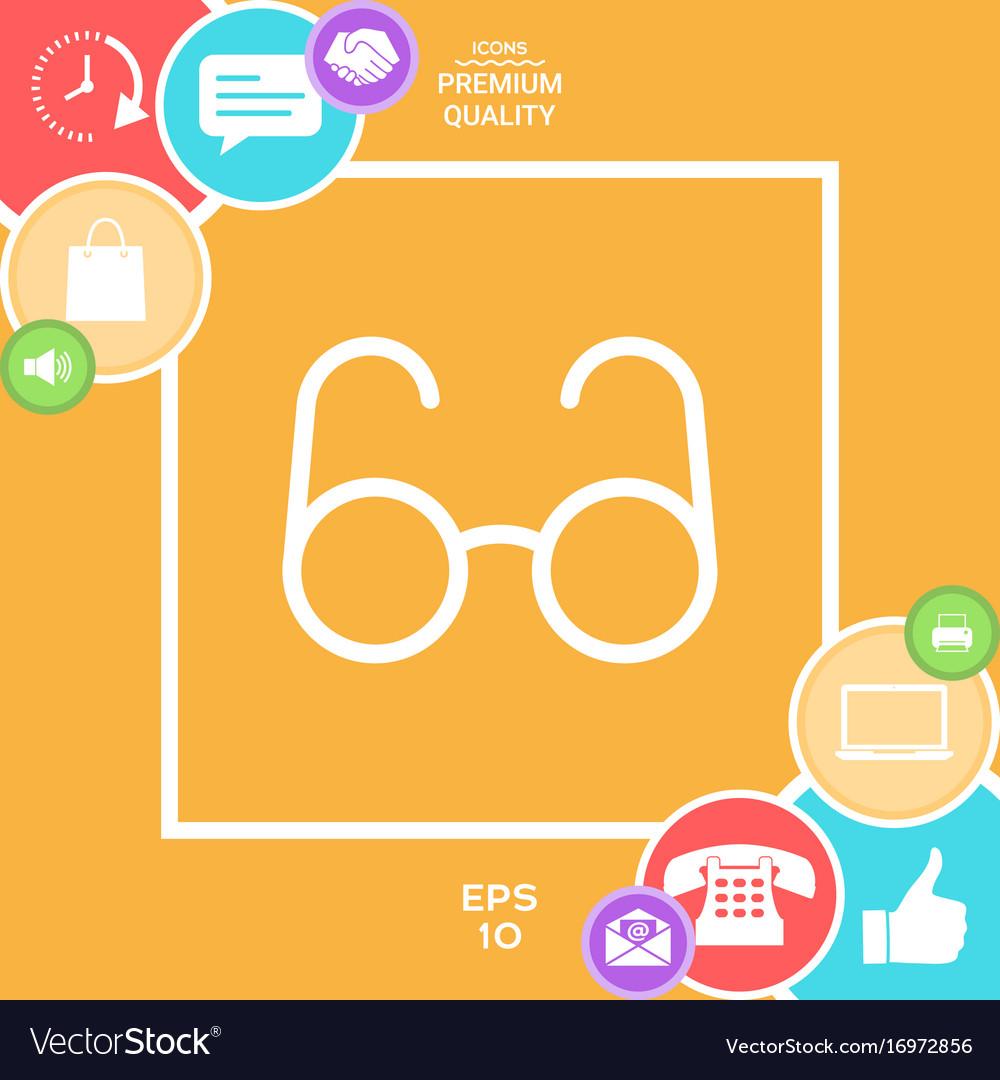 Glasses symbol - search icon vector image