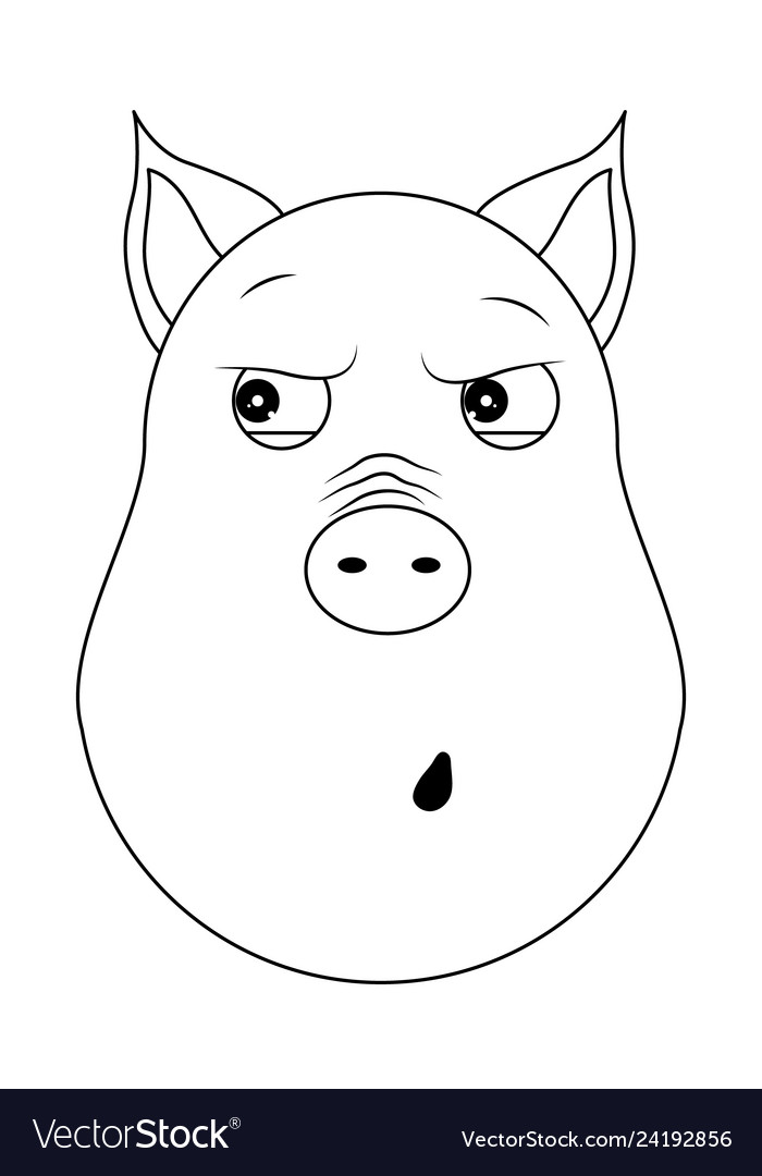 Head of paranoid pig in outline style kawaii