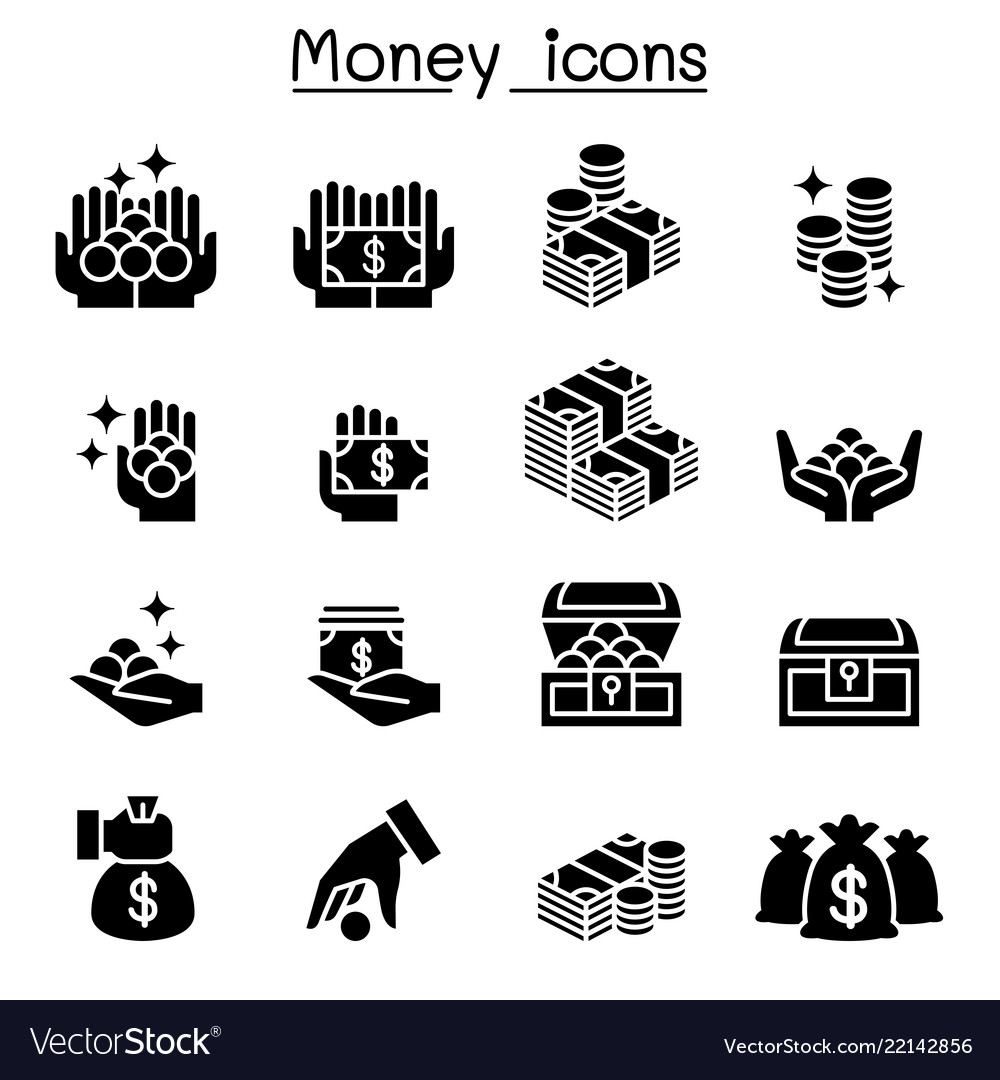 Money coin cash icon set