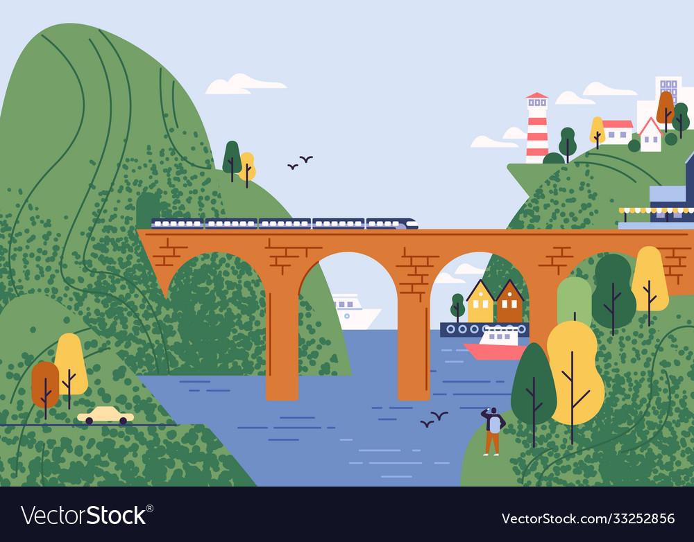 Railway bridge with moving train at beautiful