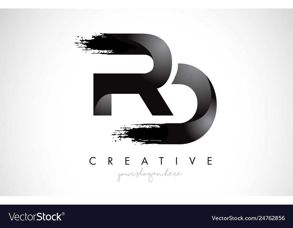 Rd letter design with brush stroke and modern 3d
