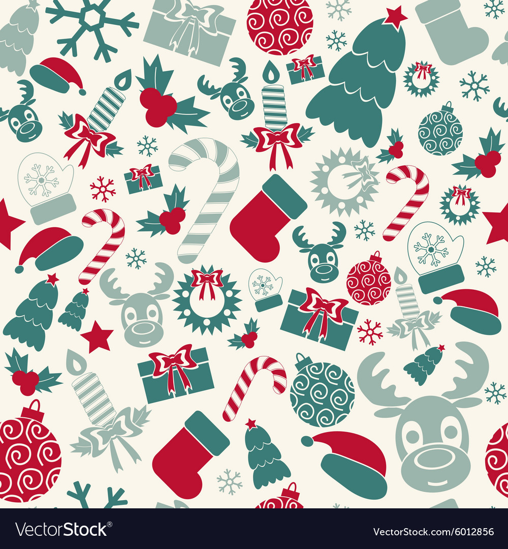 Christmas Colors.Seamless Christmas Background Retro Colors