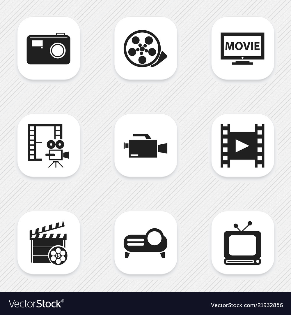 Set of 9 editable filming icons includes symbols