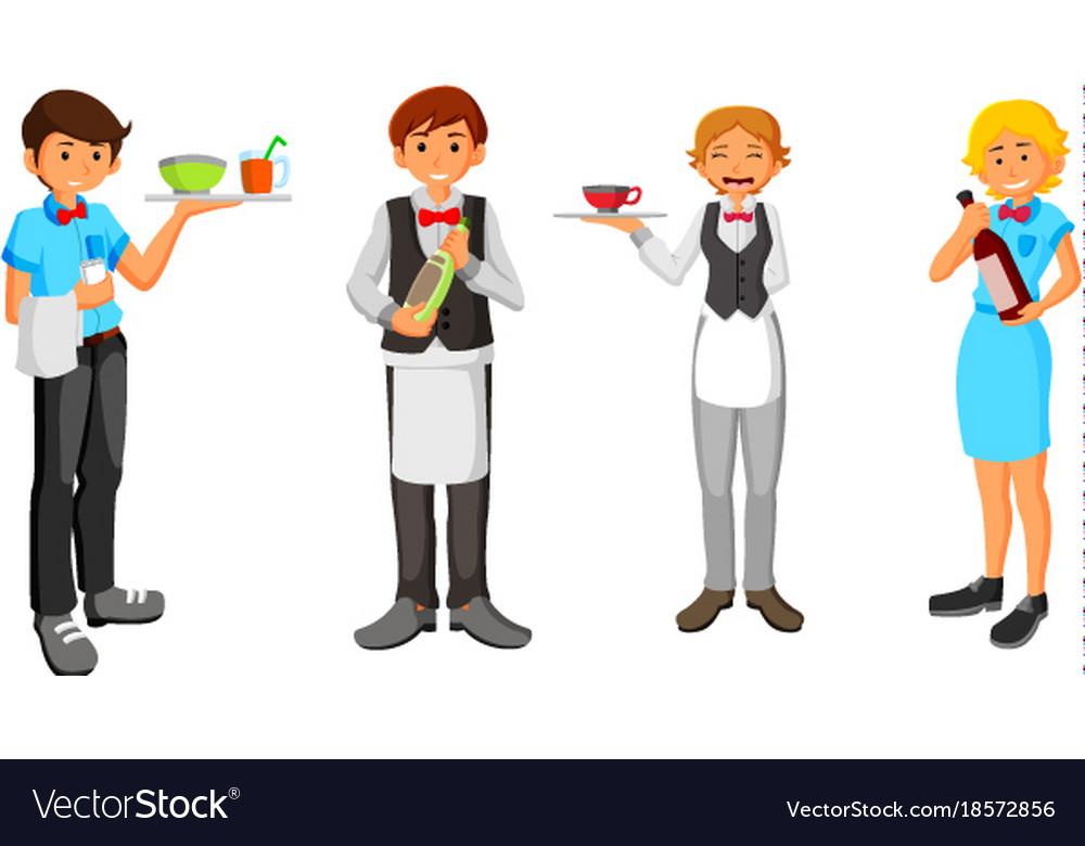 Set of waiter character design