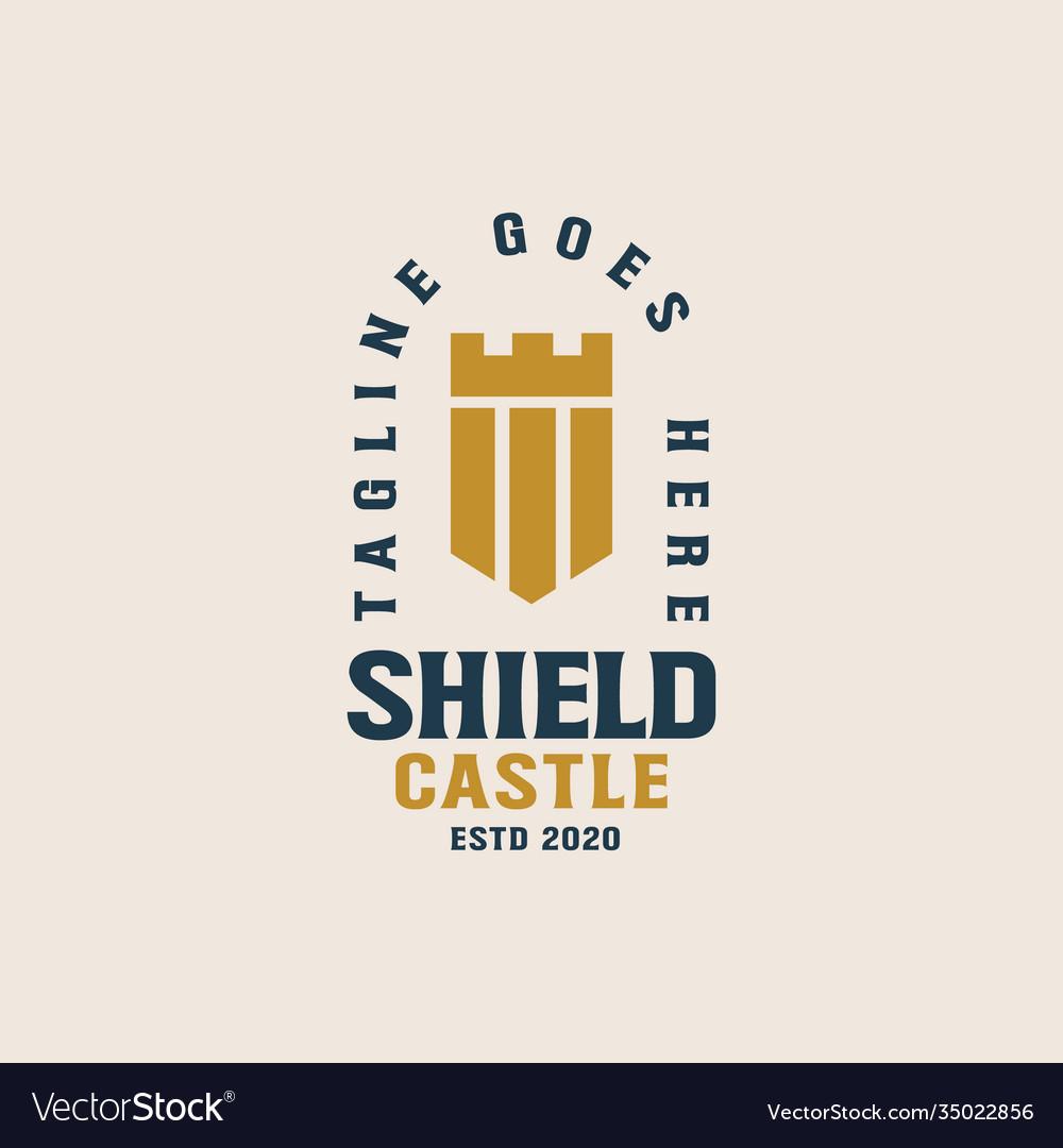 Shield castle logo template