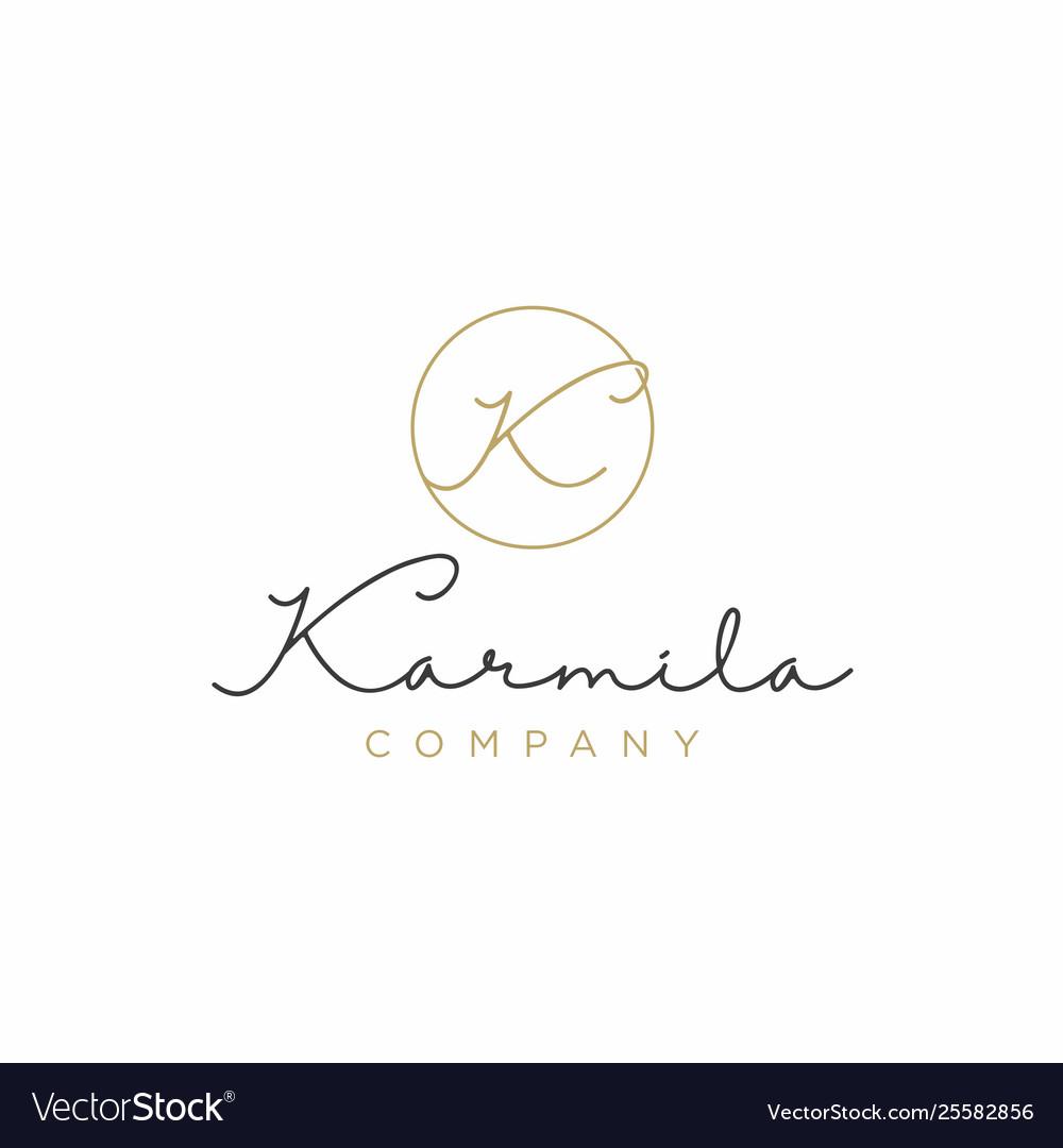 Simple elegant luxury initial letter k logo design