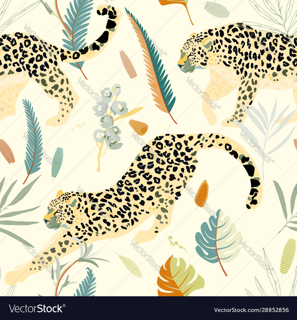 Two leopards on a light green background seamless