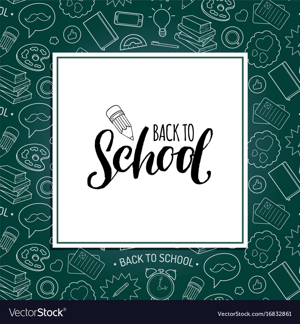 Back to school poster with pencil drawing vector image